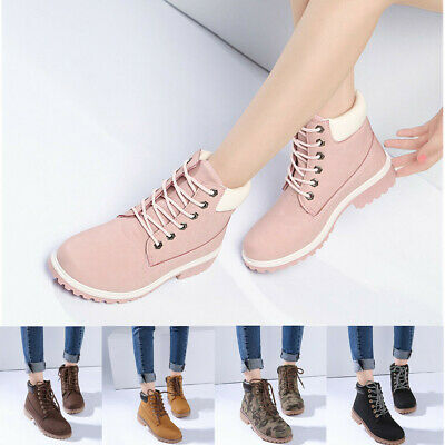 AU Women Winter Leather Lace up Outdoor Snow Ankle Boot High Top Shoes Fur Lined