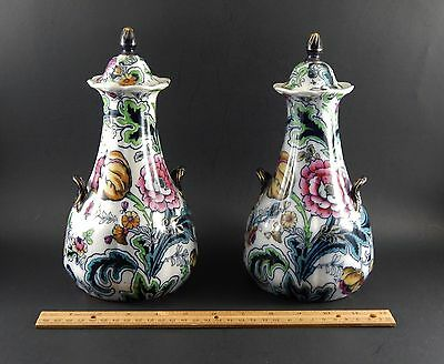 Pair Antique English Covered Urn Vases Keeling Losol Ware Stanley Burslem 9 3/4""