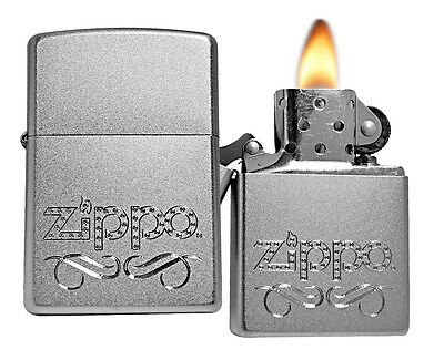 Zippo Lighter 24335 Scroll Satin Chrome Classic Windproof NEW
