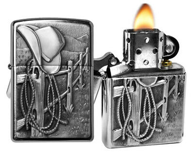 Zippo Lighter 24879 Resting Cowboy Emblem Brushed Chrome Classic NEW