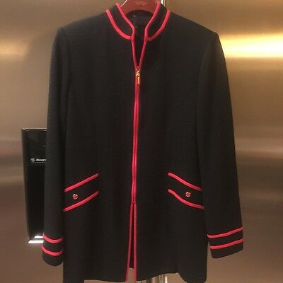St. John Marie gray collection black red knit sweater jacket 6
