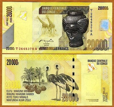 Congo D. R., 20000 (20,000) Francs, 2006 (2012), P-New, UNC > Crowned Crane