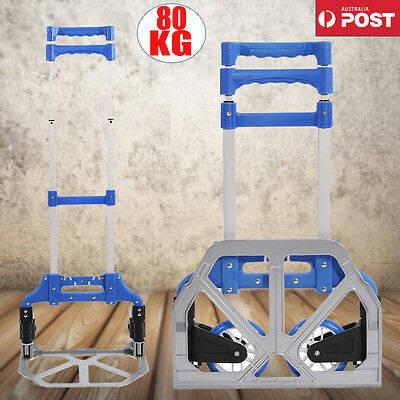 80KG Folding Aluminium Hand Trolley Luggage Cart Shop Foldable Wheels Heavy Duty