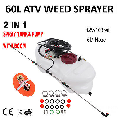 Heavy Duty 2 in 1 60L ATV Weed Sprayer Spray Tank & Pump Boom Garden Farm Spot