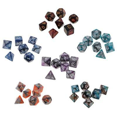 6X 7-Die Polyhedral Dice Complete Dice16mm for Dungeons and Dragons Games