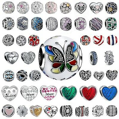 European Heart Love Charms Bead Fit 925 Silver Sterling Bracelets Necklace Chain