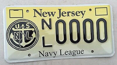 "New Jersey Mint Sample License Plate "" Nl 0000 "" Nj Us Navy League Anchor Usn"