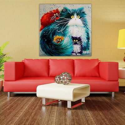 DIY 5D Diamond Embroidery Painting Colourful Cat Mosaic Stitch Craft Wall Decor