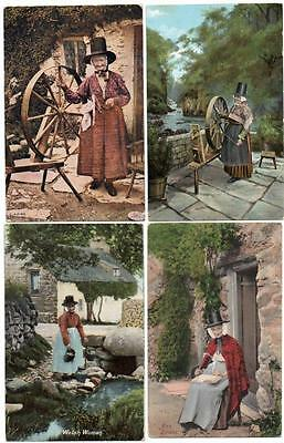 4 Early  WELSH LADIES  IN TRADITIONAL COSTUME   Postcards F