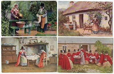 4 Early  WELSH LADIES  IN TRADITIONAL COSTUME   Postcards M