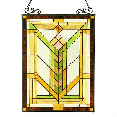 """Stained Glass Tiffany Style Window Panel Mission Arts & Crafts Design 18"""" x 24"""""""