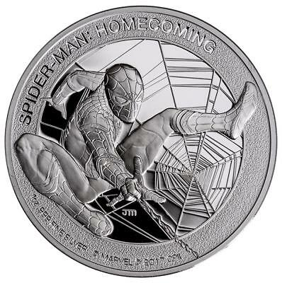 Cook Inseln - 5 Dollar 2017 - Spiderman - Homecoming - 1 Unze Silber PP - Proof