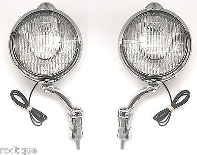 """6v 6"""" Large Unity Clear Driving Fog Lights with Brackets 6 Volt Made in USA--- 5"""