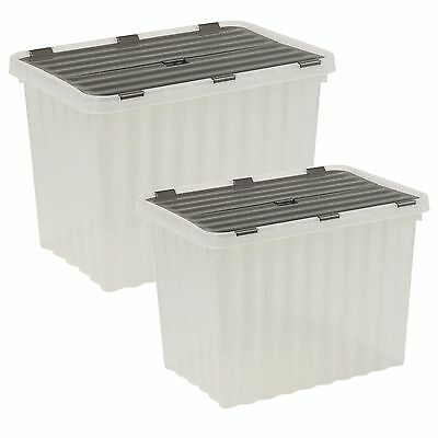 Plastic Storage Box Grey Hinged Lid Ripple Design Quality Stackable Container