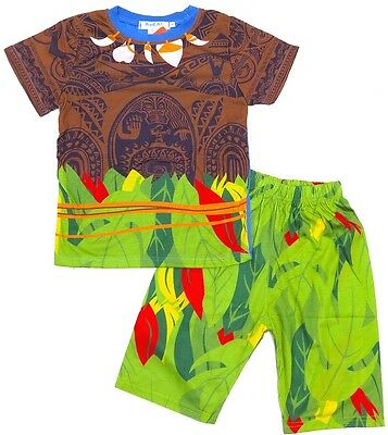 NEW Size 2-6 PYJAMAS MOANA BOYS SUMMER SLEEPWEAR PJ TSHIRT TOP TEE PJS NIGHTIE C
