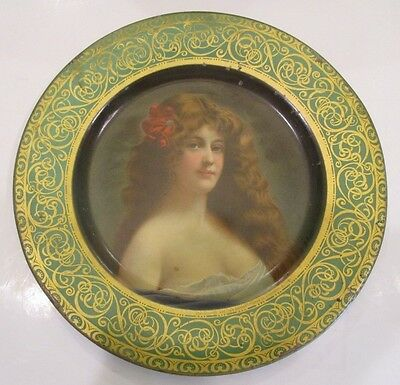 Risque Antique Metalware Vienna Art Plate With Long Raven Haired Buxom Beauty D