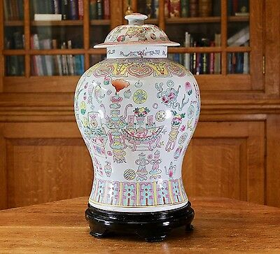 Substantial large chinese hand enamelled temple jar / wooden stand One of a pair