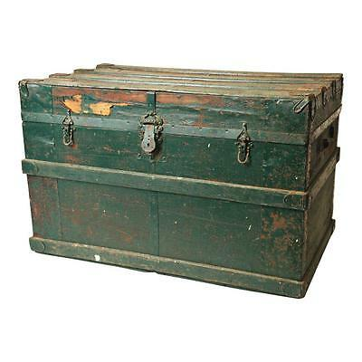 Vintage WOOD STEAMER TRUNK box chest coffee table victorian storage GREEN crate