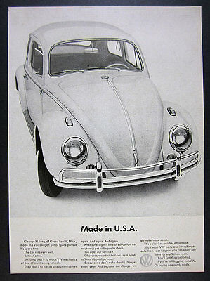1963 Volkswagen VW Beetle 'Made in USA' car made of spare parts vintage print Ad