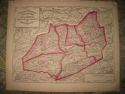 Antique Columbia Union Snyder Montour Northumberland County Pennsylvania Map Nr