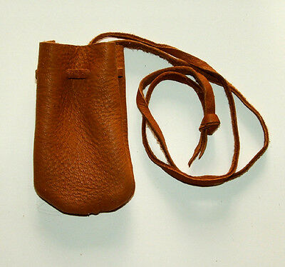 "Medicine Bag Smooth Top Grain Leather 2.5""x3.5""  32"" L Drawstring TOBACCO BROWN"