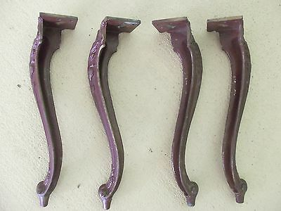 Set of 4 Vintage Metal Cabriole Table Legs Painted Brass Antique Furniture Legs
