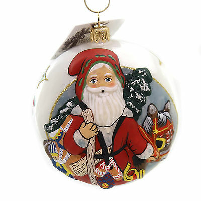 Vaillancourt SANTA WITH CHRISTMAS DONKEY Glass Jingle Balls Ornament Or17503