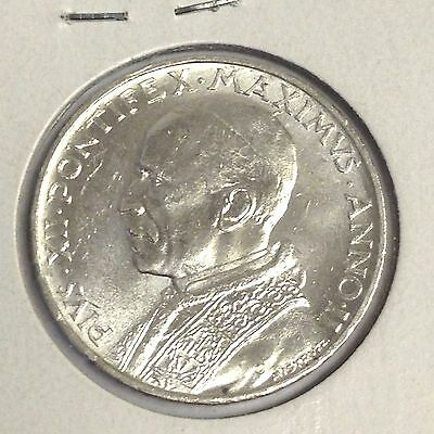1940 Vatican City 5 Lire, St Peter in boat, Pius XII silver coin, UNC