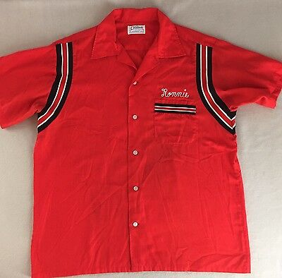 Vintage Hilton Bowling Shirt Red Lightweight Rockabilly 60's 70's Size L