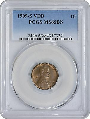 1909 S Lincoln VDB Cent MS65BN PCGS Mint State 65 Brown