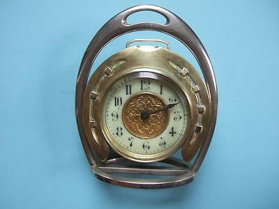 ANTIQUE HORSESHOE/STIRRUP CLOCK by BUCC BIRMINGHAM c.1900. EQUESTRIAN ANTIQUES