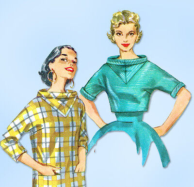 1950s Vintage Simplicity Sewing Pattern 1464 Misses Pullover Kimono Blouse 29B