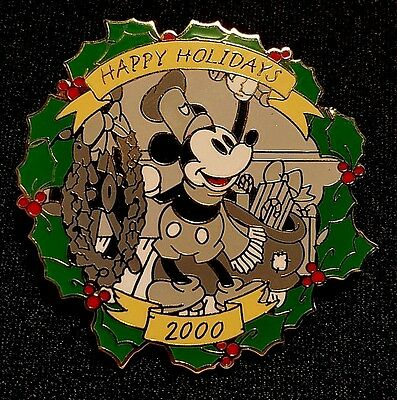 Retired 2000 Disney Wdw Christmas Happy Holidays Mickey Steamboat Willie Pin Le