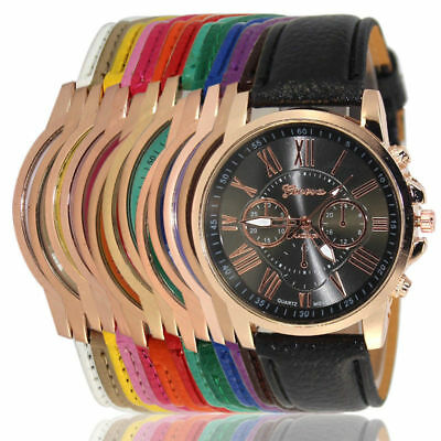 Fashion New Geneva Women Leather Band Stainless Steel Quartz Analog Wrist Watch