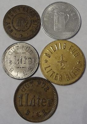 Germany Lot Of 5 Different Beer Tokens, Scarce