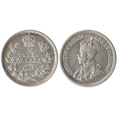 1919 Canada 5 Cents Silver Coin KM#22