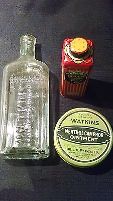 Lot of 3 Vintage WATKINS 2 Tins & 1 Bottle