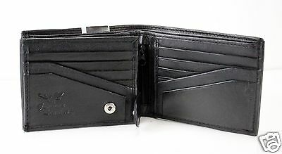New Mens Bifold Genuine Leather Wallet Buckle Black Clutch Zipper id Window Card