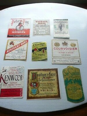 Lot Of 9  Old Vintage Whiskey Labels Kentucky Whiskey Bourbon Etc.... Lot  # B
