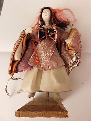 vintage CHINESE Japanese DOLL WOMAN PLAYING DRUMS COMPOSITION GLASS EYES