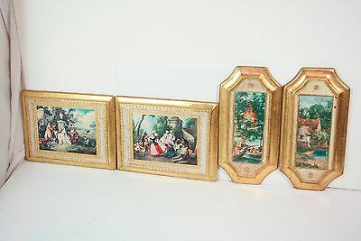 4 Vtg Antique Italian Florentine Toleware Big Wood Wall Plaque Made In Italy