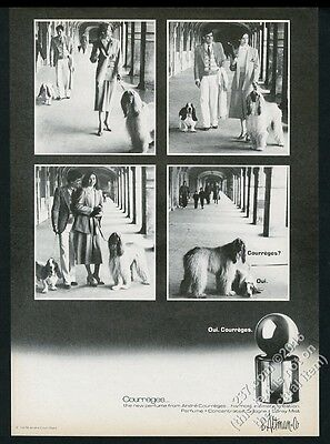 1978 Afghan Hound and Bassset 4 photo Courreges perfume vintage print ad