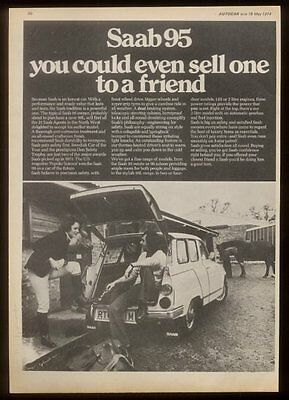 1974 Saab 95 station wagon & horse photo UK print ad
