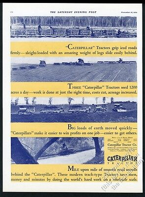 1929 Caterpillar tractor CAT farm etc 4 photo vintage print ad