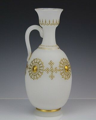 Antique Bristol Frosted White Satin Art Glass Gold Gilt Jeweled Mantle Ewer Vase