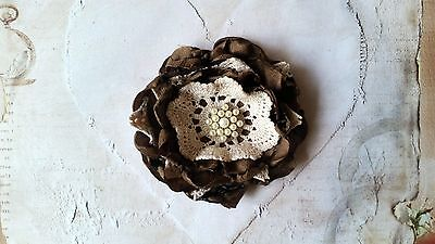 Vintage Fabric Flower with Gorgeous Diamante Center ~ 9cm ~ Design #2