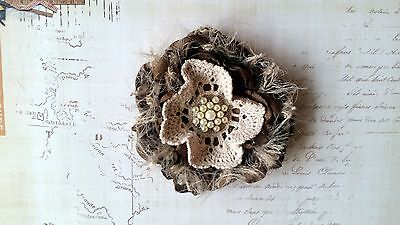 Vintage Fabric Flower with Gorgeous Diamante Center ~ 9cm ~ Design #3