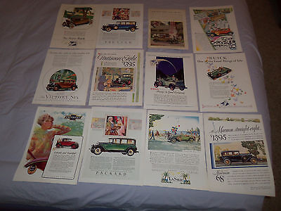 1930's Lot 12 Color AUTOMOBILE ADs FORD CHEVROLET BUICK PACKARD DODGE MARMON
