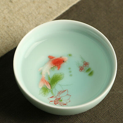 on sales Chinese porcelain tea cup fish relief handpainted flower cup of tea One
