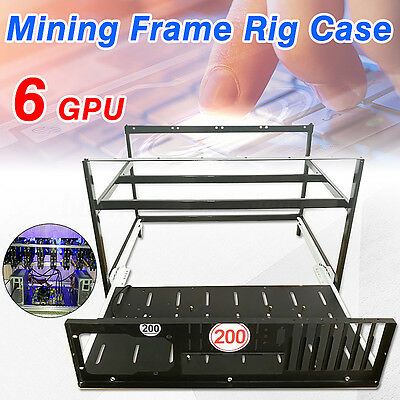Crypto Coin Open Air Mining Frame Rig Case For  4 Fans 6 GPU ETH BTC Ethereum